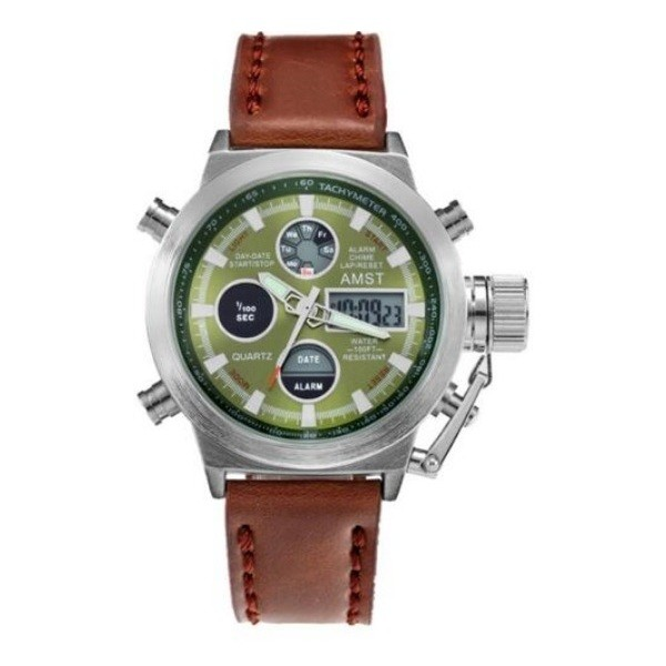 AMST 3003 Silver Green Leather Фото 1